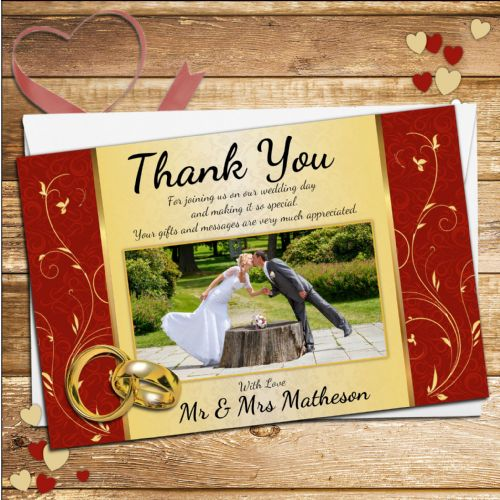 10 Personalised Wedding Red & Gold Swirls Thank you PHOTO cards N243